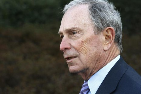 Former New York City Mayor Michael Bloomberg talks to reporters after meeting with U.S. President Barack Obama and business and civic leader