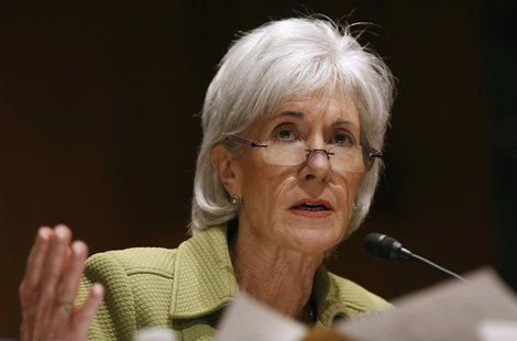 U.S. Secretary of Health and Human Services Kathleen Sebelius answers a question while she testifies before the Senate Finance Committee hea