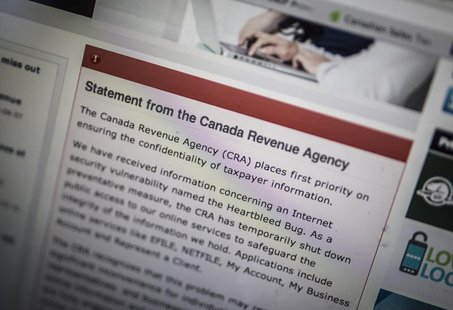 "The Canada Revenue Agency website is seen on a computer screen displaying information about an internet security vulnerability called the ""H"