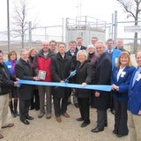 The Sheboygan County Chamber of Commerce leads a ribbon cutting for the new air monitoring site in the Sheboygan area April 14, 2014.
