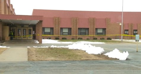 Oconto High School damaged by a fire on April 16, 2014. (Photo from: YouTube).