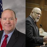 GOP Congressman Larry Bucshon left, GOP Representative Tim Brown right