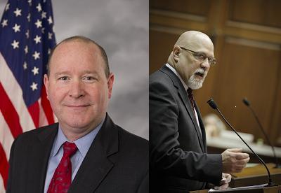 GOP Congressman Larry Bucshon left, GOP Representative Tim Brown right