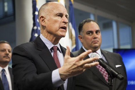 California Governor Jerry Brown announces emergency drought legislation at the CalO ES State Operations Center in Mather, California, Februa