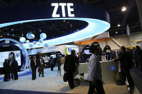 The ZTE display is shown at the annual Consumer Electronics Show (CES) in Las Vegas, Nevada January 8, 2014. REUTERS/Robert Galbraith