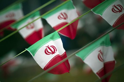 Iran's national flags are seen on a square in Tehran February 10, 2012, a day before the anniversary of the Islamic Revolution. REUTERS/Mort