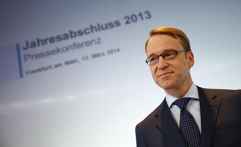 Jens Weidmann, President of Germany's federal reserve bank Bundesbank waits for the start of the bank's annual news conference in Frankfurt,
