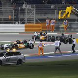 The car of Sauber Formula One driver Esteban Gutierrez of Mexico is removed from the track after his collision with Lotus Formula One driver