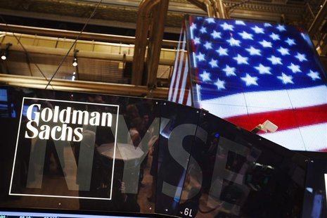 The Goldman Sachs logo is displayed on a post above the floor of the New York Stock Exchange in this file photo taken September 11, 2013. RE