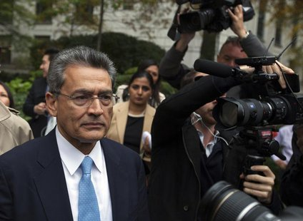 Former Goldman Sachs Group Inc board member Rajat Gupta departs Manhattan Federal Court after being sentenced in New York, October 24, 2012.
