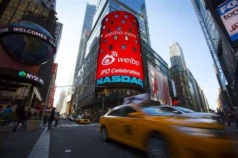 The Weibo logo is seen at the NASDAQ MarketSite in Times Square in celebration of its initial public offering (IPO) on The NASDAQ Stock Mark