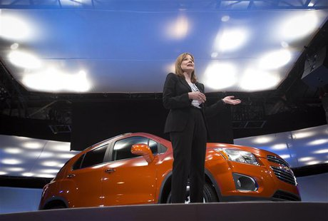General Motors CEO Mary Barra appears onstage during a launch event for new Chevrolet cars before the New York Auto Show in New York April 1
