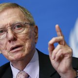 Michael Kirby, Chairperson of the Commission of Inquiry on Human Rights in North Korea, gestures during a news conference at the United Nati