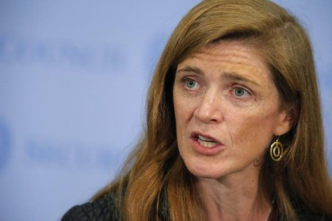 U.S. ambassador to the United Nations Samantha Power speaks to the media after voting on a resolution approving U.N. peacekeepers for Centra
