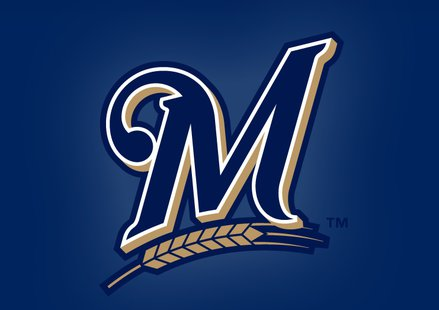 Milwaukee Brewers script-M logo (properly sized, Brewers.com)
