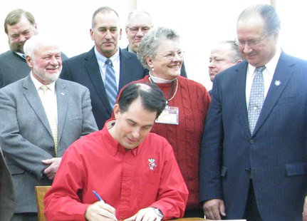 Governor Scott Walker, Senator Jerry Petrowski at Rib Mountain bill signing ceremony