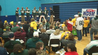 Packer entourage takes the stage at the team's Tailgate Tour stop in Superior