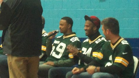 Packer LB Brad Jones answering a fan's question (to his right are Jarrett Bush and Mason Crosby)