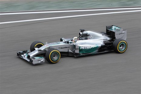 Mercedes Formula One driver Lewis Hamilton of Britain drives during the second practice session of the Chinese F1 Grand Prix at the Shanghai
