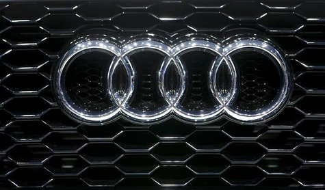 The company logo is seen on the bonnet of a Audi car during the media day ahead of the 84th Geneva Motor Show at the Palexpo Arena in Geneva
