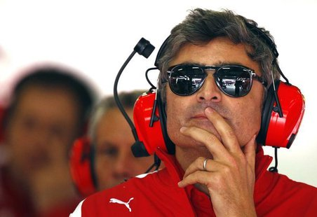 New Ferrari Formula One team principal Marco Mattiacci attends the second practice session of the Chinese F1 Grand Prix at the Shanghai Inte