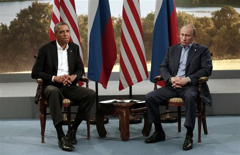 U.S. President Barack Obama (L) meets with Russian President Vladimir Putin during the G8 Summit at Lough Erne in Enniskillen, Northern Irel