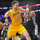 March 19, 2014; Los Angeles, CA, USA; Los Angeles Lakers center Pau Gasol (16) moves to the basket against the San Antonio Spurs during the