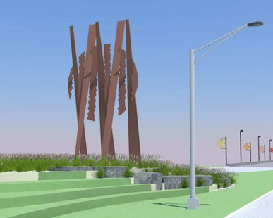 "An artist's rendition of the ""Uniting Sun"" sculpture proposed for the southern base of Holland's River Avenue Bridge"