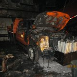 Truck damage from a highway barn fire on Highway 97 in Marathon County.