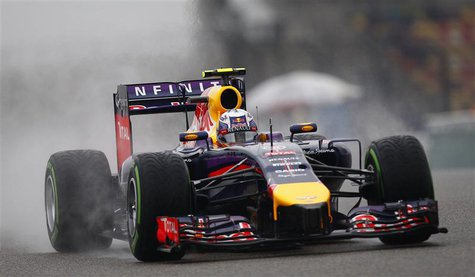 Red Bull Formula One driver Daniel Ricciardo of Australia drives during the third practice session of the Chinese F1 Grand Prix at the Shang