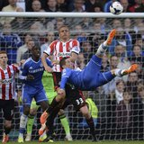 Chelsea's Fernando Torres attempts an overhead kick during their English Premier League soccer match against Sunderland at Stamford Bridge i