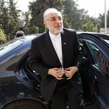Former Iranian Foreign Minister Ali Akbar Salehi reacts upon his arrival to attend the official opening ceremony for the new headquarters of