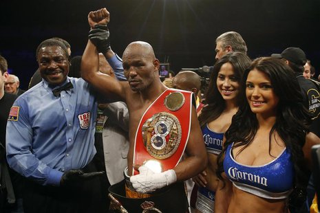 Apr 19, 2014; Washington, DC, USA; Bernard Hopkins celebrates after his split decision victory over Beibut Shumenov at DC Armory. Mandatory