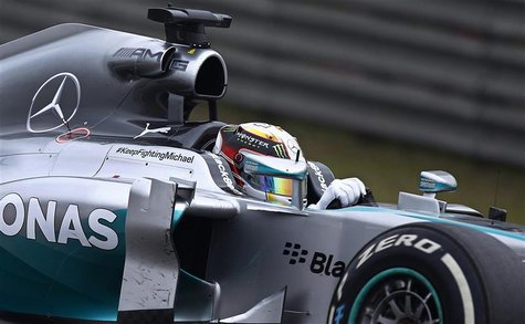 Mercedes Formula One driver Lewis Hamilton of Britain drives during the Chinese F1 Grand Prix at the Shanghai International circuit, April 2