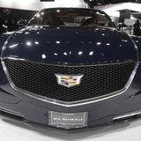 The grille of the Cadillac Elmiraj concept car as the vehicle is displayed during the press preview day of the North American International