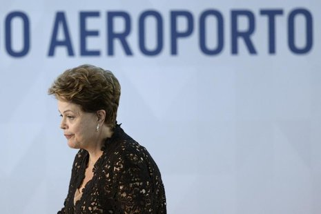 Brazil's President Dilma Rousseff looks on during the inauguration ceremony for the South Pier of the Juscelino Kubitschek International Air