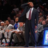 Feb 28, 2014; New York, NY, USA; New York Knicks head coach Mike Woodson reacts in the second half against the Golden State Warriors at Madi