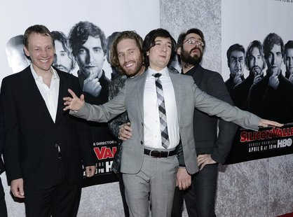 (L-R) Executive producer Alec Berg and cast members T.J. Miller, Josh Brener and Martin Starr attend the Los Angeles premiere for the new HB