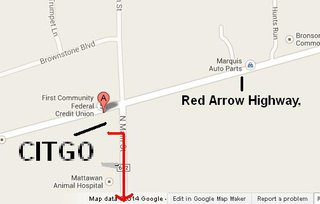 The red arrow actually indicates the direction they fled, south on C.R. 652.