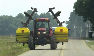 tractor on roadway