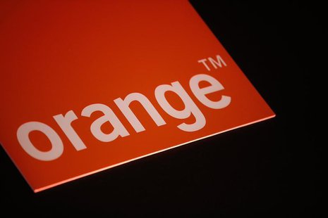 The logo of French telecom operator Orange is seen during the company's 2013 annual results presentation in Paris March 6, 2014. REUTERS/Jac