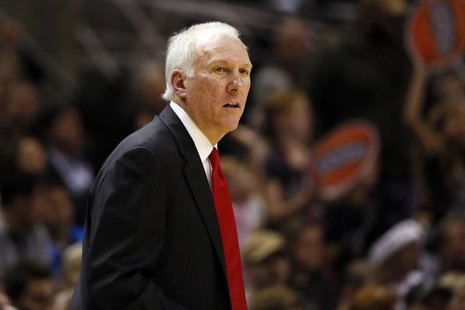 Dec 13, 2013; San Antonio, TX, USA; San Antonio Spurs head coach Gregg Popovich reacts during the second half against the Minnesota Timberwo