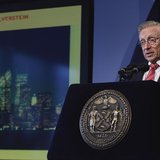 World Trade Center developer Larry Silverstein speaks at an event to update the public on the pace of development at the site in New York Se