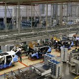 An overall view of the assembly line where the BMW X4 is made at the BMW manufacturing plant in Spartanburg, South Carolina March 28, 2014.