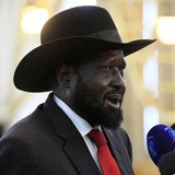 South Sudan's President Salva Kiir speaks during a joint news conference with Sudan's President Omar al-Bashir (not pictured) at Khartoum Ai