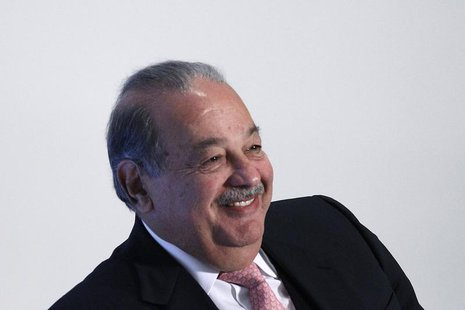 Mexican billionaire Carlos Slim smiles during the presentation of a digital platform to promote Mexico's natural heritage inside Soumaya mus