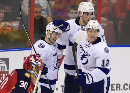 Dec 23, 2013; Sunrise, FL, USA; Tampa Bay Lightning center Tyler Johnson (9) celebrates his goal against Florida Panthers goalie Scott Clemm