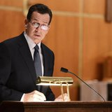 Dannel Malloy, Governor of Connecticut speaks to mourners gathererd inside the St. Rose of Lima Roman Catholic Church. REUTERS/Andrew Gomber