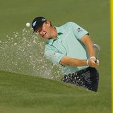 South Africa's Ernie Els hits from the sand on the second hole during the second round of the Masters golf tournament at the Augusta Nationa