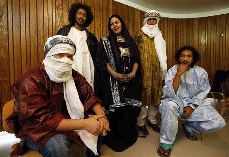 Mali's Cheikh Ag Tiglia, Ousmane Ag Mossa, Wonou Walet Sidati, Ibrahim Ag Ahmed Salem, and Aghaly Ag Mohammedi (L-R) of the Touareg desert b